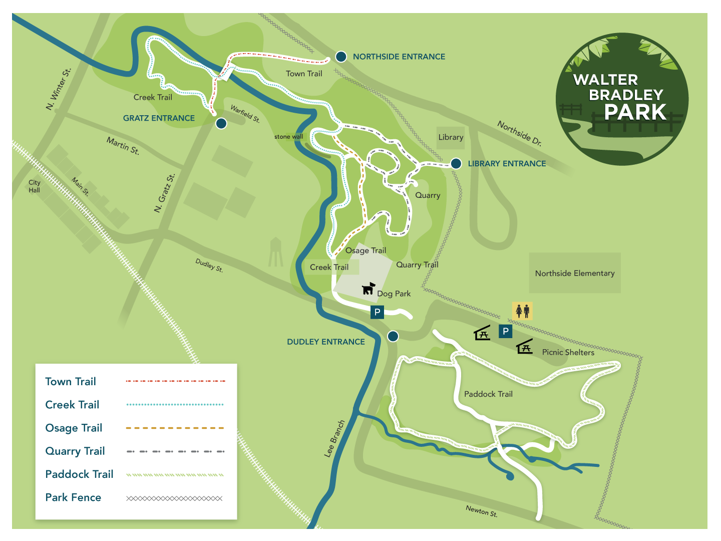 map of the park showing trails and parking